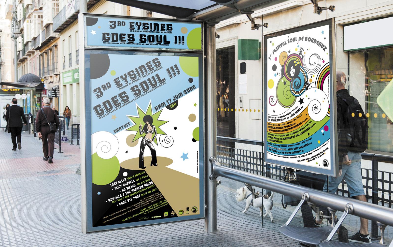 """Affiches pour le festival """"Eysines Goes more Soul"""""""