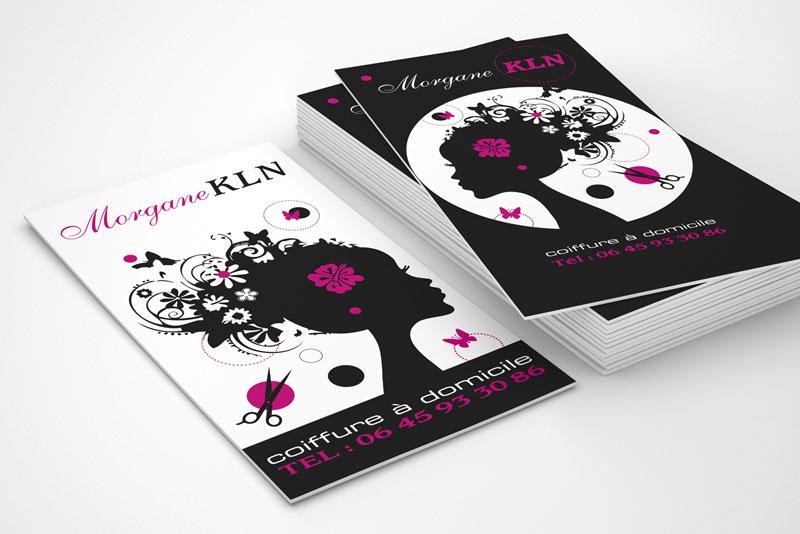 cartes de visite, Morgane KLN, coiffeuse à domicile