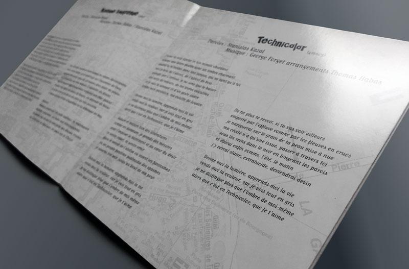 """Détail d'une double page intérieure du livret de l'album """"rue Garat"""" de Stanislas Kazal"""