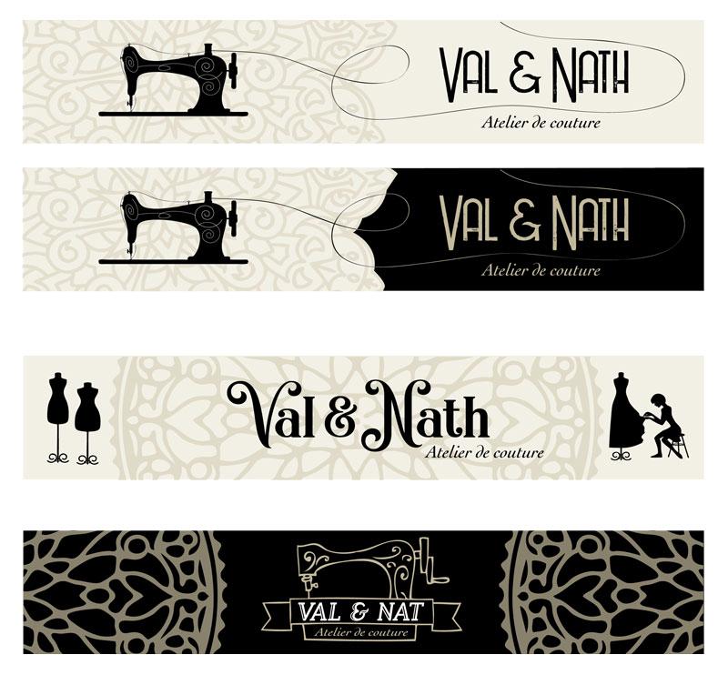 """propositions de logos pour l'enseigne """"Val & Nath"""" pour la série télévisée """"Alexandra Elhe"""" épisode 4 passant sur France Télévisions"""