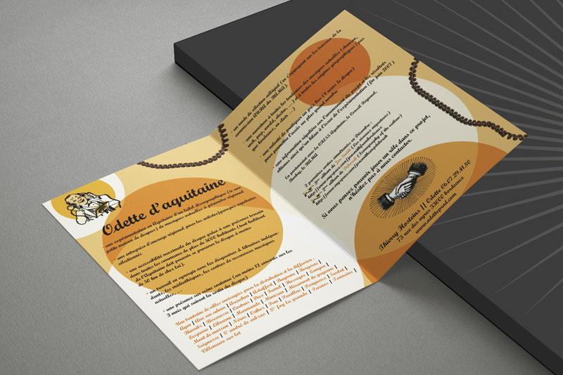 Intérieur de la plaquette pour le label Odette Aquitaine