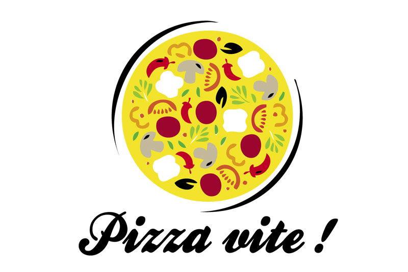 """proposition logo d'une pizzeria """"Pizza Vite !"""", pour la série télévisée """"Alexandra Elhe"""" épisode 4 passant sur France Télévisions"""