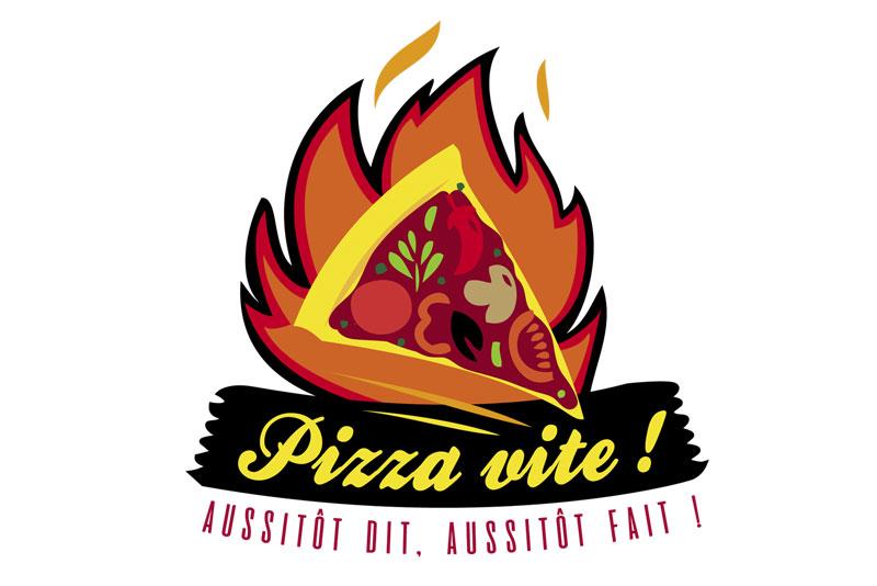 """logo d'une pizzeria """"Pizza Vite !"""", pour la série télévisée """"Alexandra Elhe"""" épisode 4 passant sur France Télévisions"""