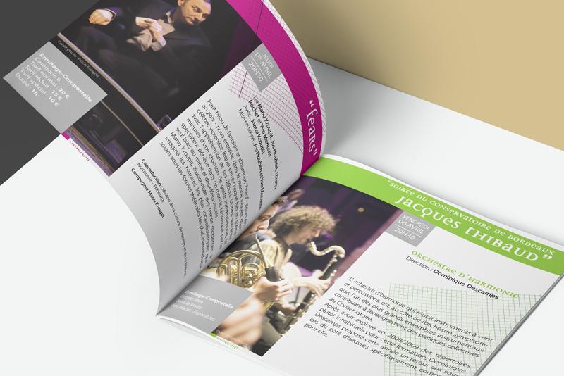 détails pages intérieures du magazine pour la saison culturelle du Bouscat