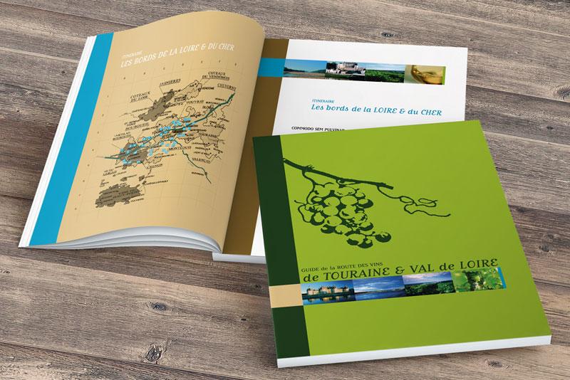 couverture et pages intérieures du guide de la route des vins de Touraine et Val de Loire