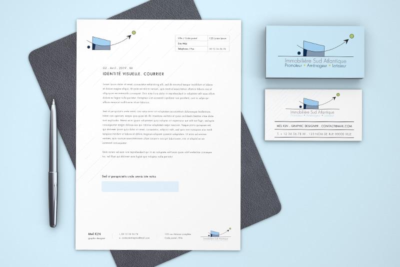 Papier en tête et carte de visite pour la société Immobilière Sud Atlantique