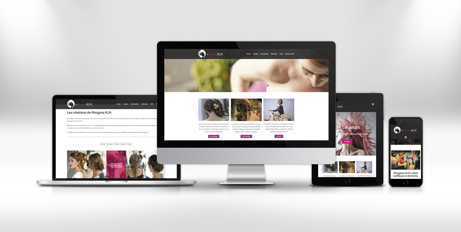 site internet, responsive design, Morgane KLN, coiffeuse à domicile
