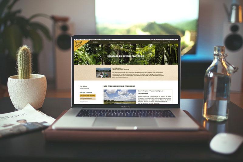 """page d'entrée d'un site pour des treks en Guyane, pour la série télévisée """"Alexandra Elhe"""" épisode 4 passant sur France Télévisions"""
