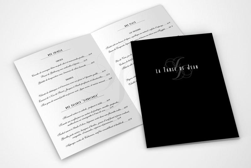 menu du restaurant La table de Jean pour la série télévisée Mongeville passant France3